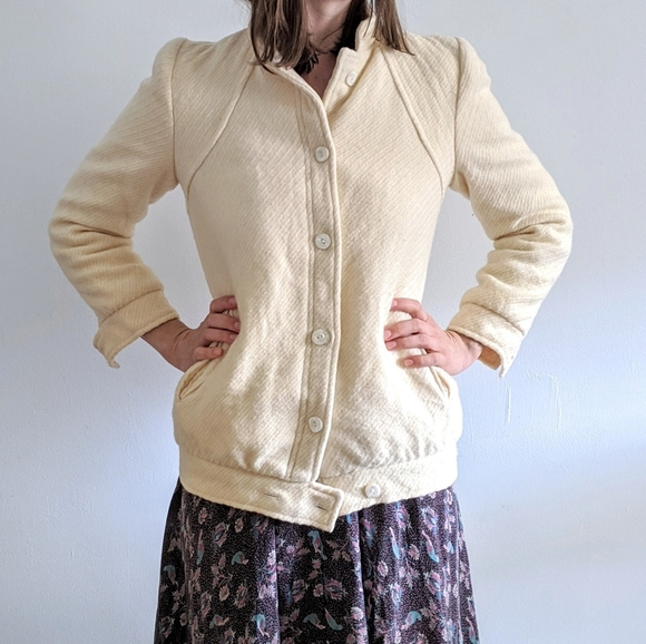 Vintage 70's Cream Wool Coat with MJ Shoulders